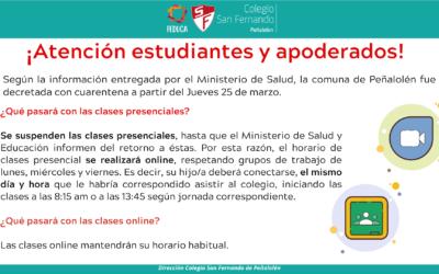 Clases con Peñalolén en cuarentena: Información para las familias
